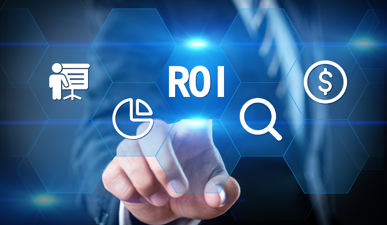 Business person selecting ROI on a touchscreen